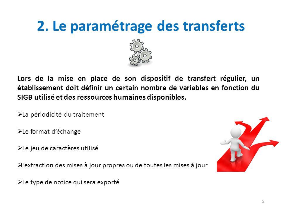 2. Le paramétrage des transferts