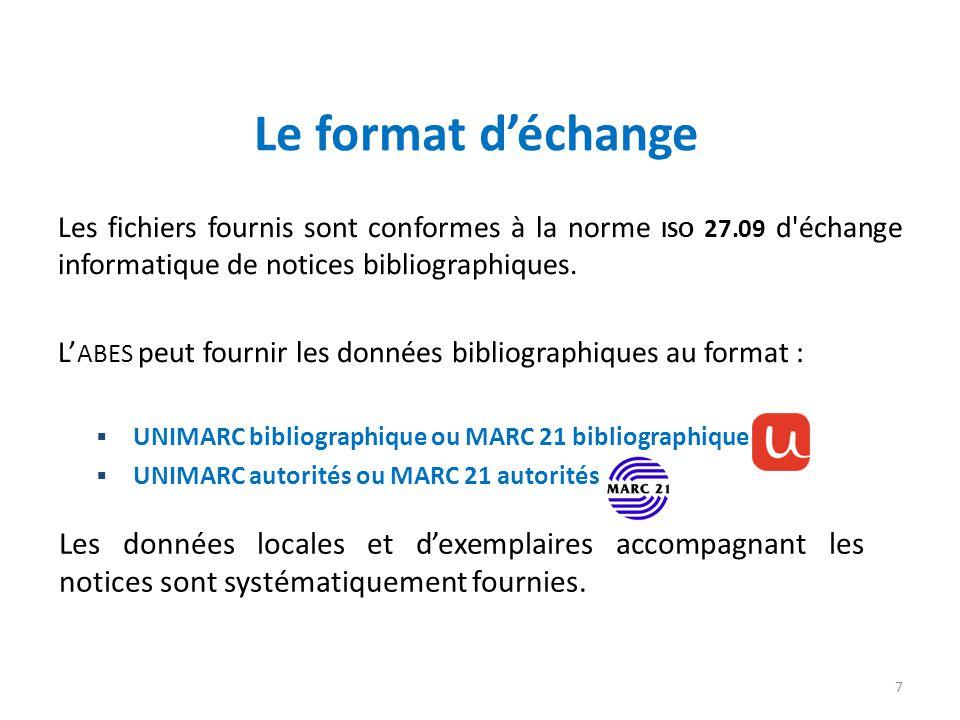 Le format d'échange Les fichiers fournis sont conformes à la norme ISO 27.09 d échange informatique de notices bibliographiques.