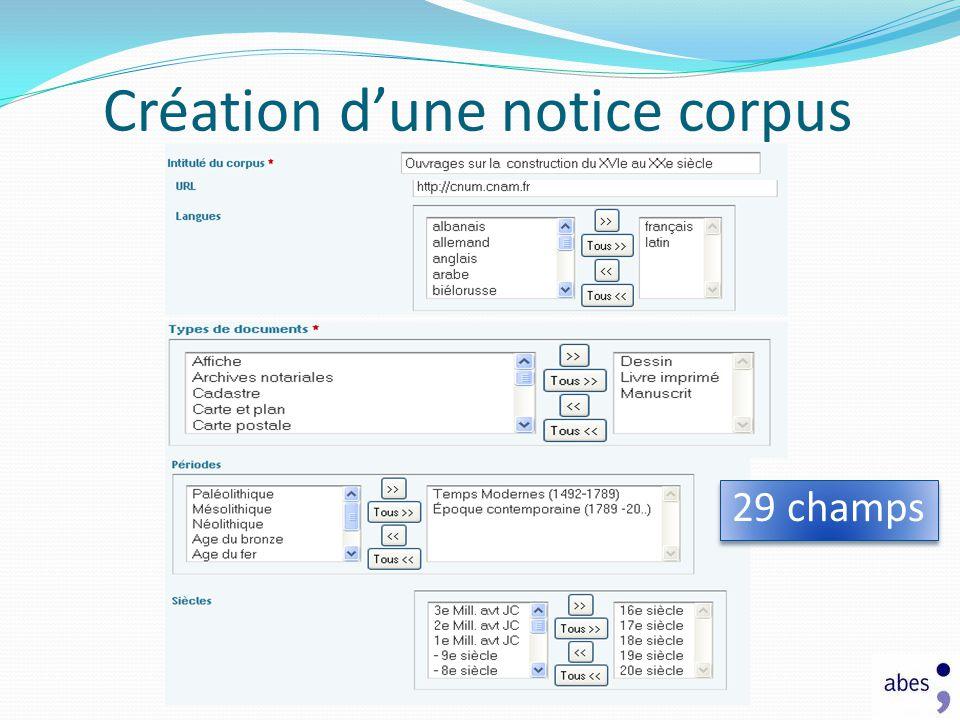 Création d'une notice corpus