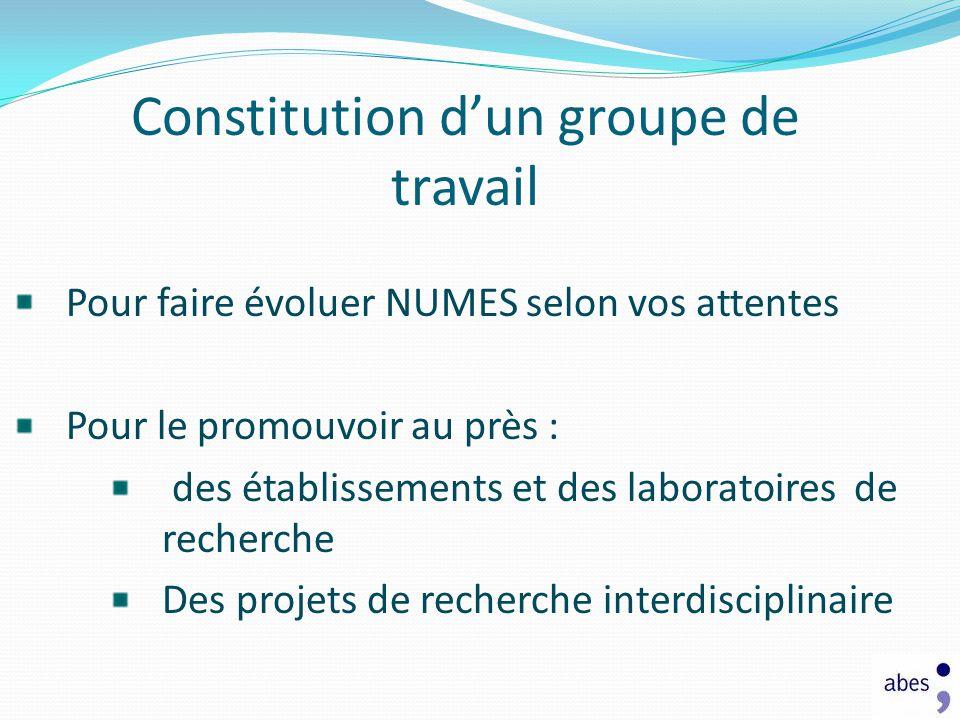 Constitution d'un groupe de travail