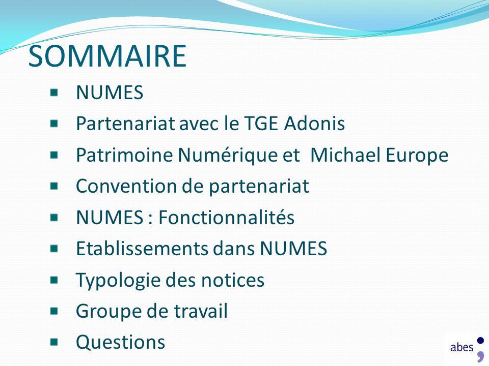 SOMMAIRE NUMES Partenariat avec le TGE Adonis