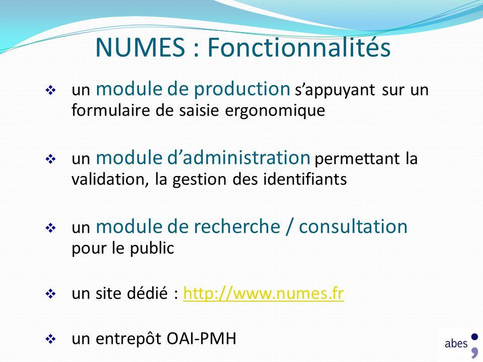 NUMES : Fonctionnalités
