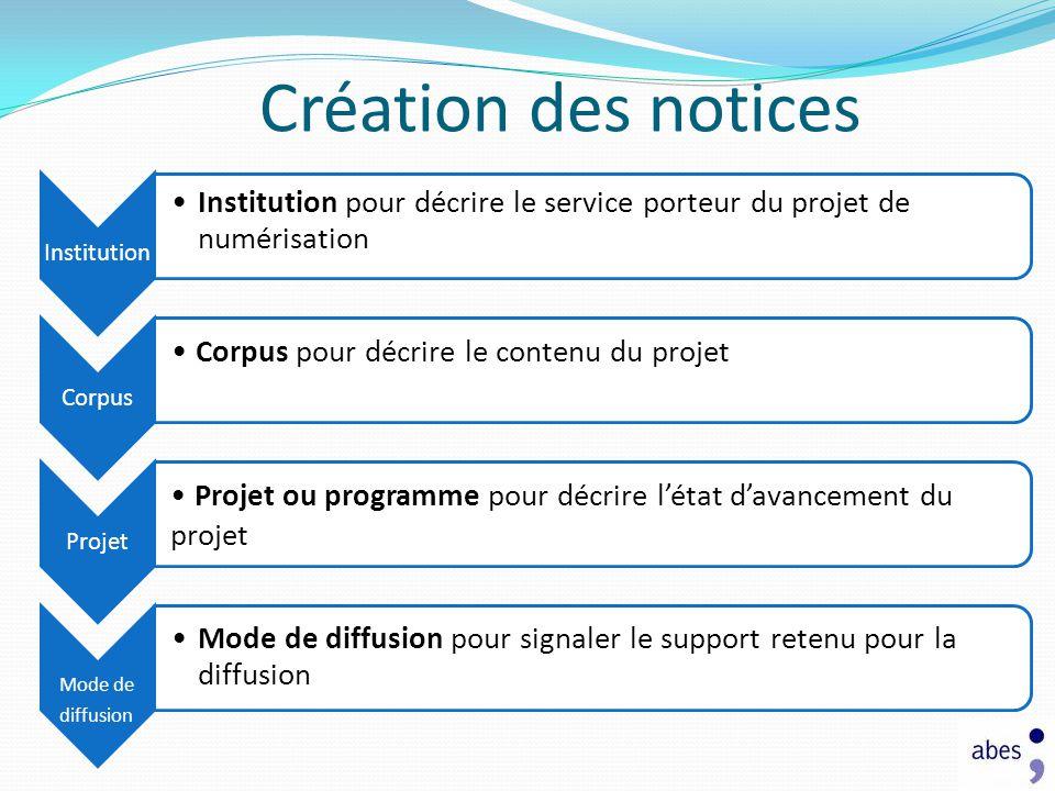 Création des notices Institution. Institution pour décrire le service porteur du projet de numérisation.