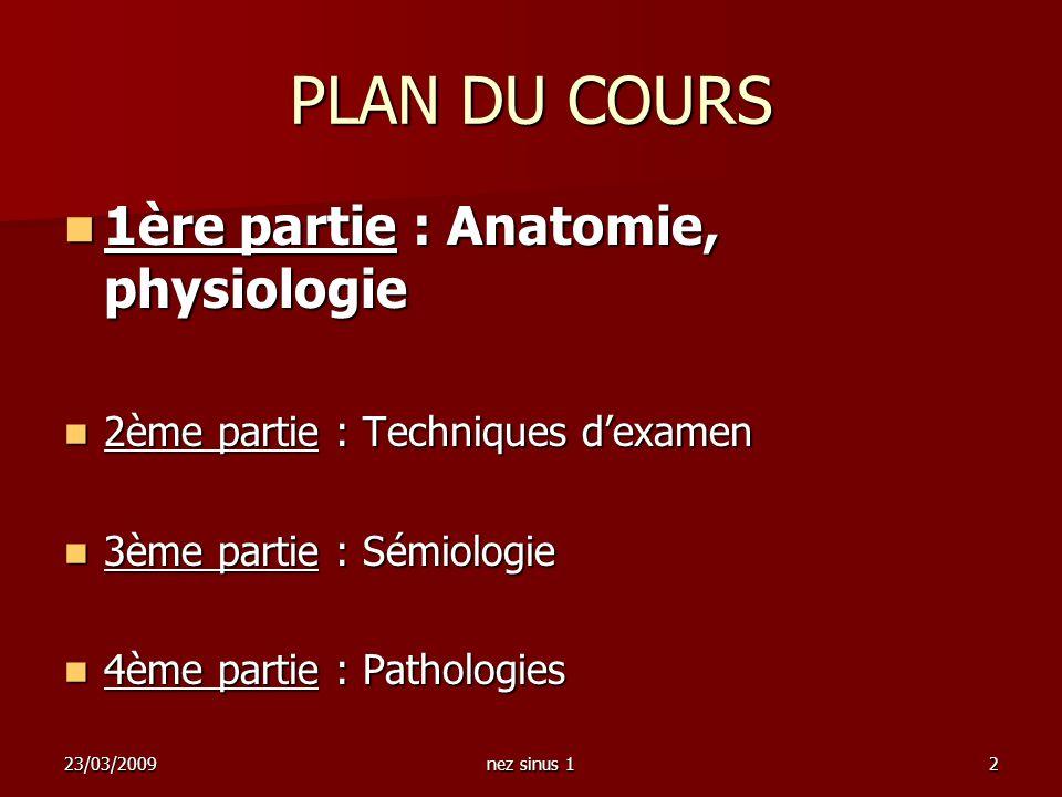 PLAN DU COURS 1ère partie : Anatomie, physiologie
