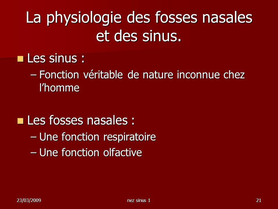 La physiologie des fosses nasales et des sinus.