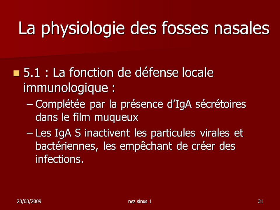 La physiologie des fosses nasales