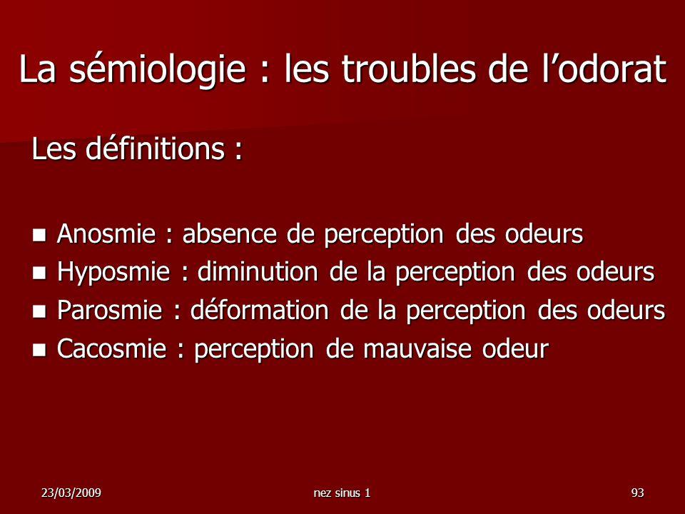 La sémiologie : les troubles de l'odorat