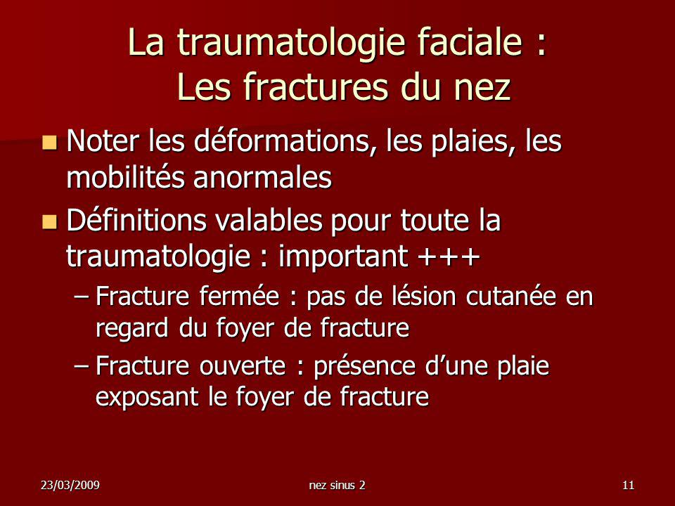 La traumatologie faciale : Les fractures du nez