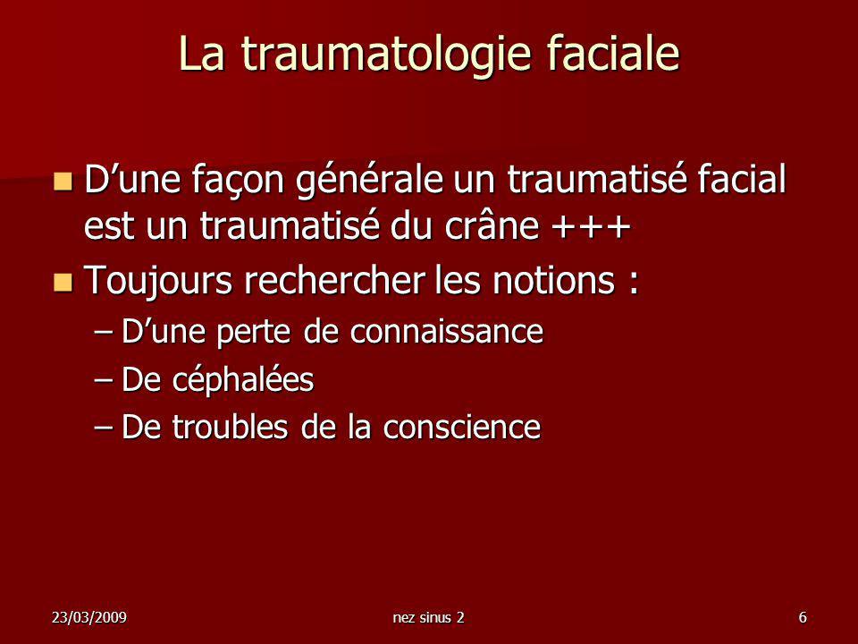 La traumatologie faciale