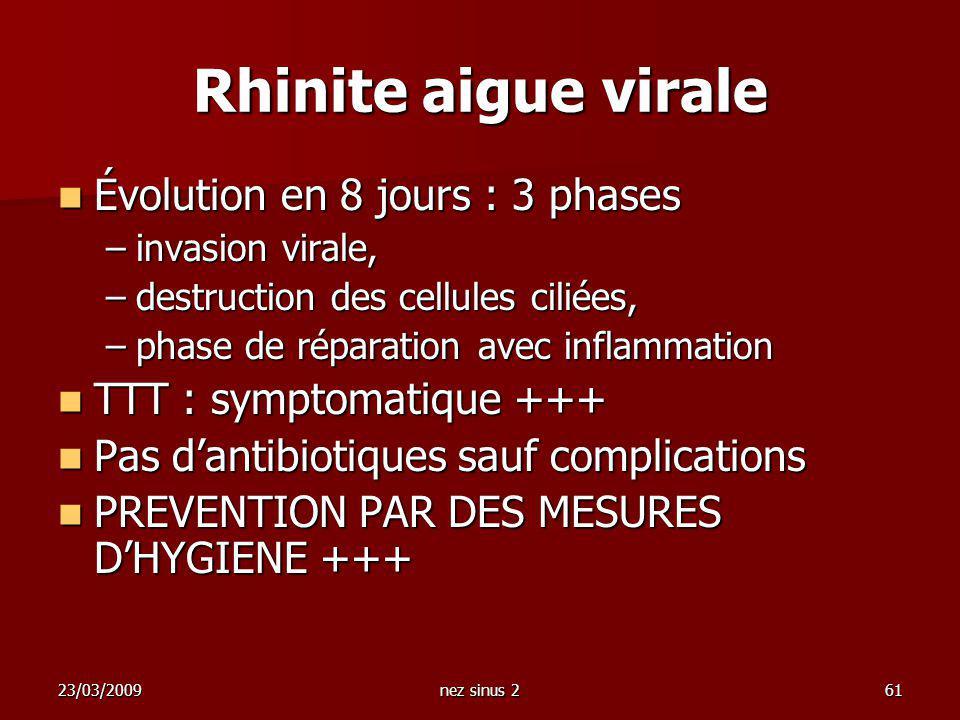 Rhinite aigue virale Évolution en 8 jours : 3 phases