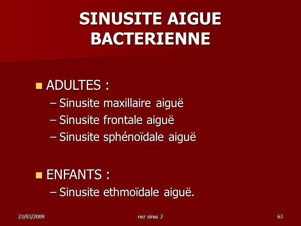 SINUSITE AIGUE BACTERIENNE