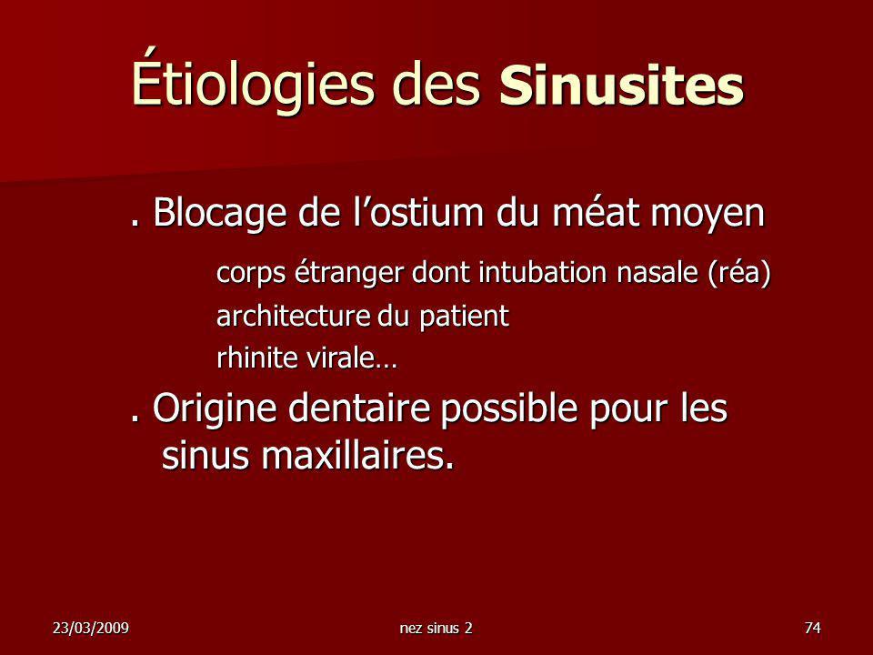 Étiologies des Sinusites