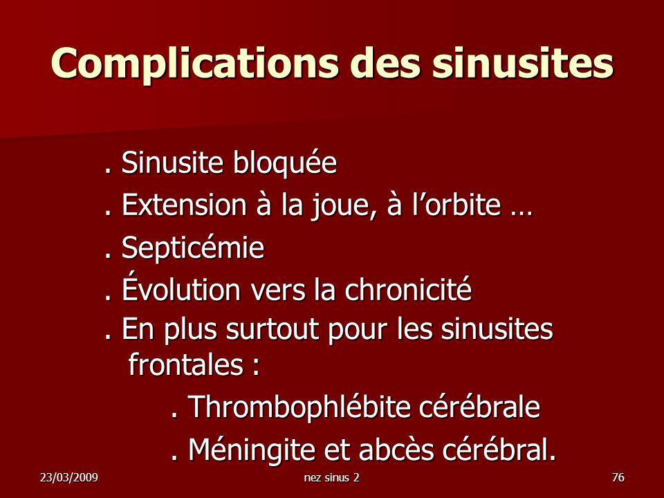 Complications des sinusites