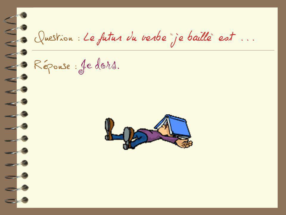 Question : Le futur du verbe je baille est ... Réponse : Je dors.