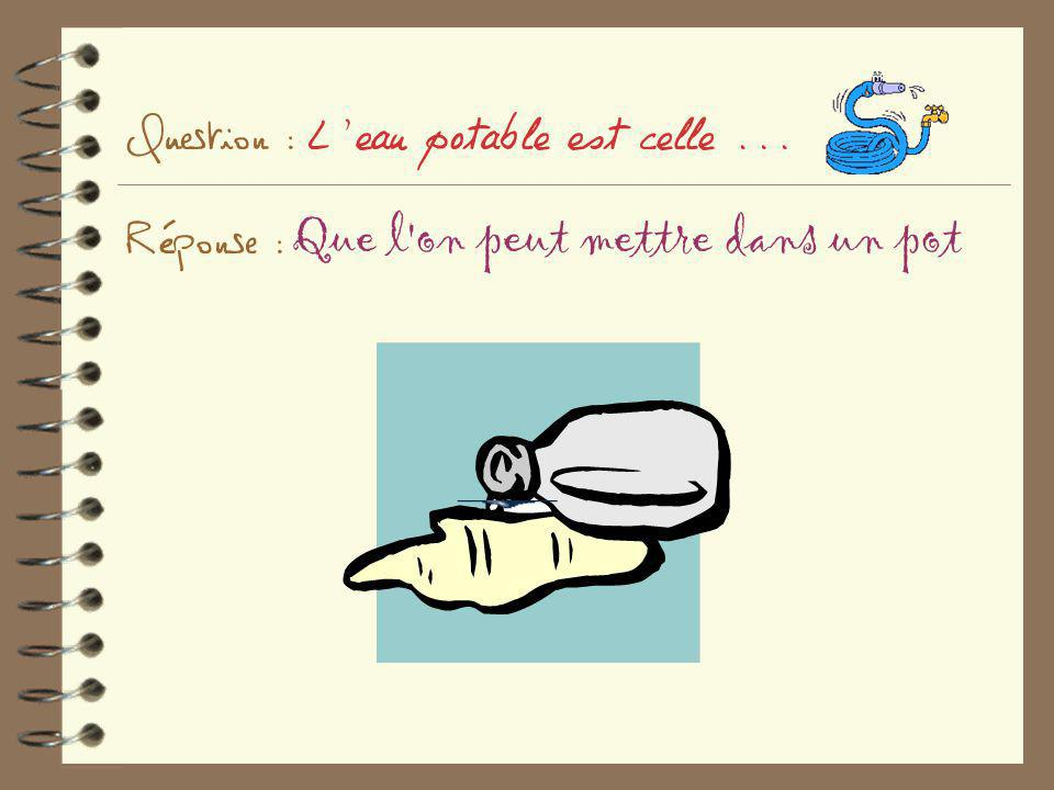 Question : L eau potable est celle