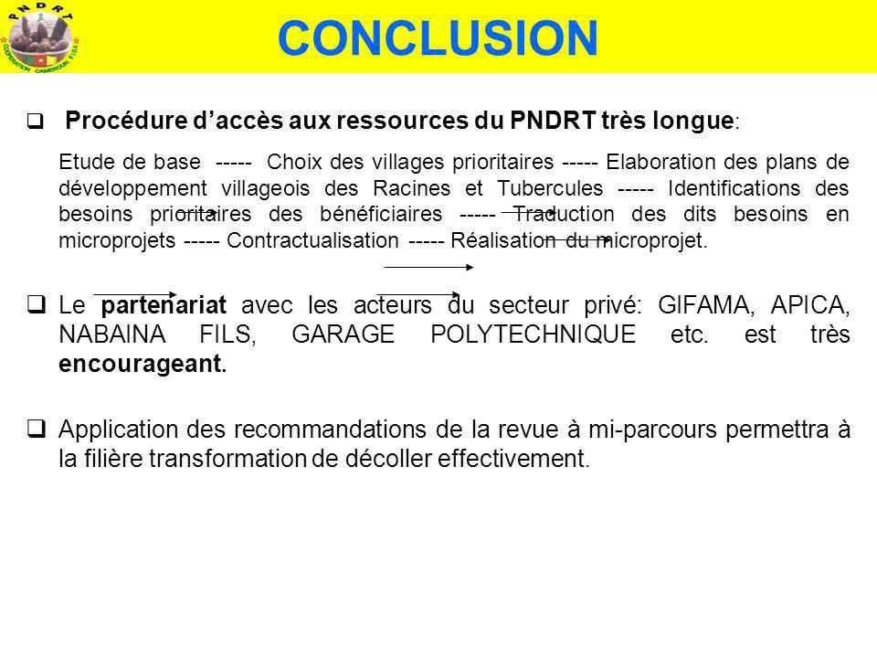 CONCLUSION Procédure d'accès aux ressources du PNDRT très longue: