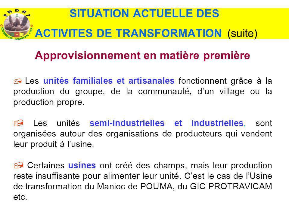SITUATION ACTUELLE DES ACTIVITES DE TRANSFORMATION (suite)