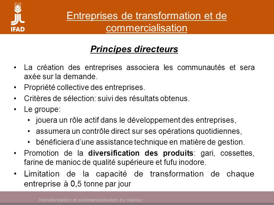 Entreprises de transformation et de commercialisation