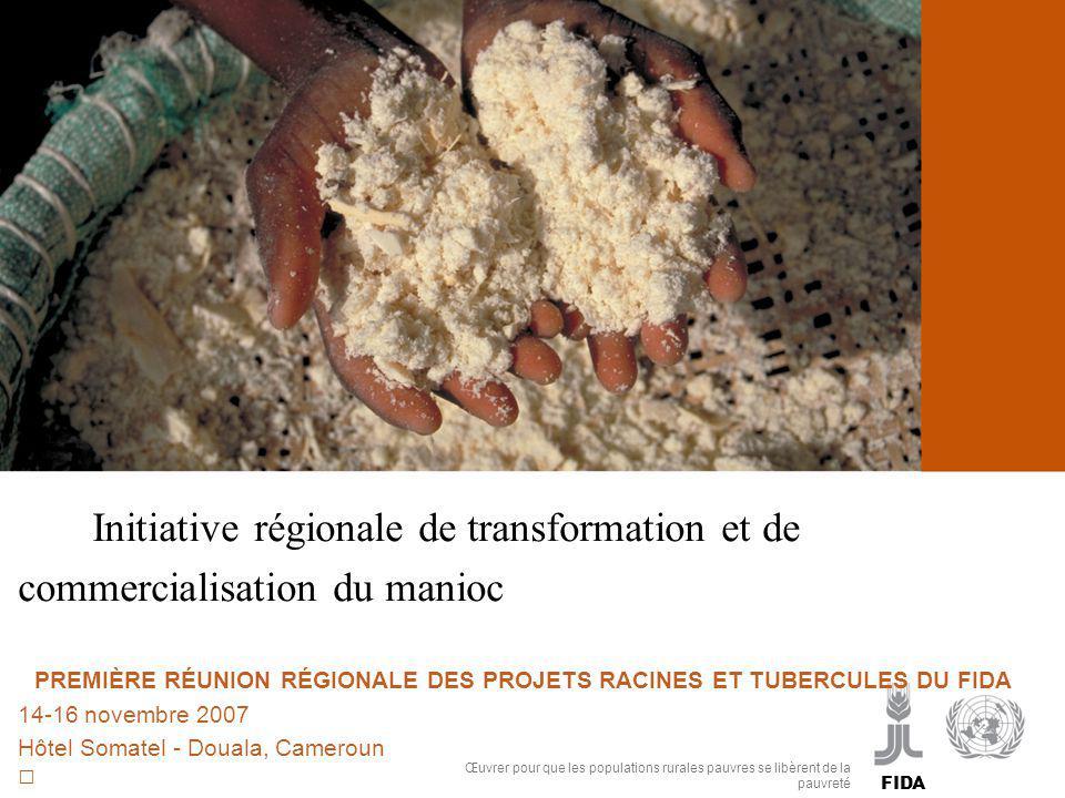 InIInitiative régionale de transformation et de commercialisation du manioc  PREMIÈRE RÉUNION RÉGIONALE DES PROJETS RACINES ET TUBERCULES DU FIDA 14-16 novembre 2007 Hôtel Somatel - Douala, Cameroun