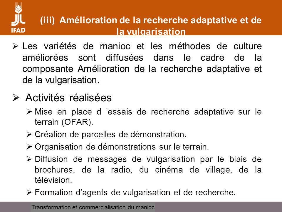 (iii) Amélioration de la recherche adaptative et de la vulgarisation