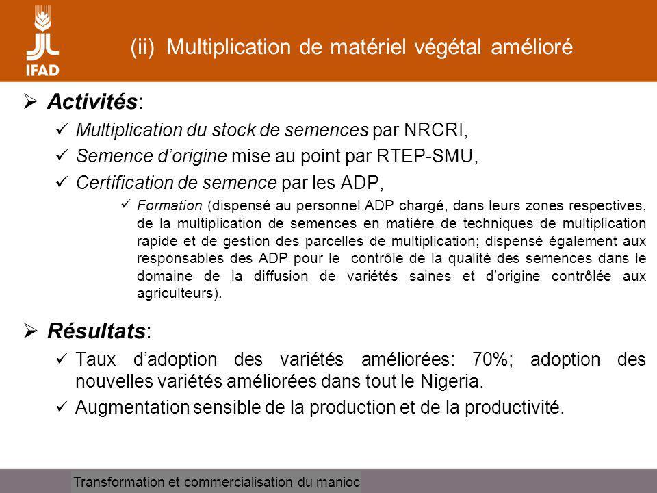 (ii) Multiplication de matériel végétal amélioré