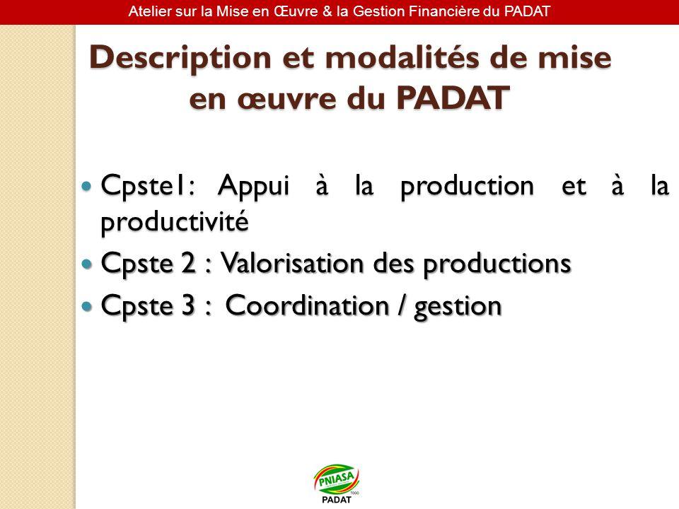 Description et modalités de mise en œuvre du PADAT