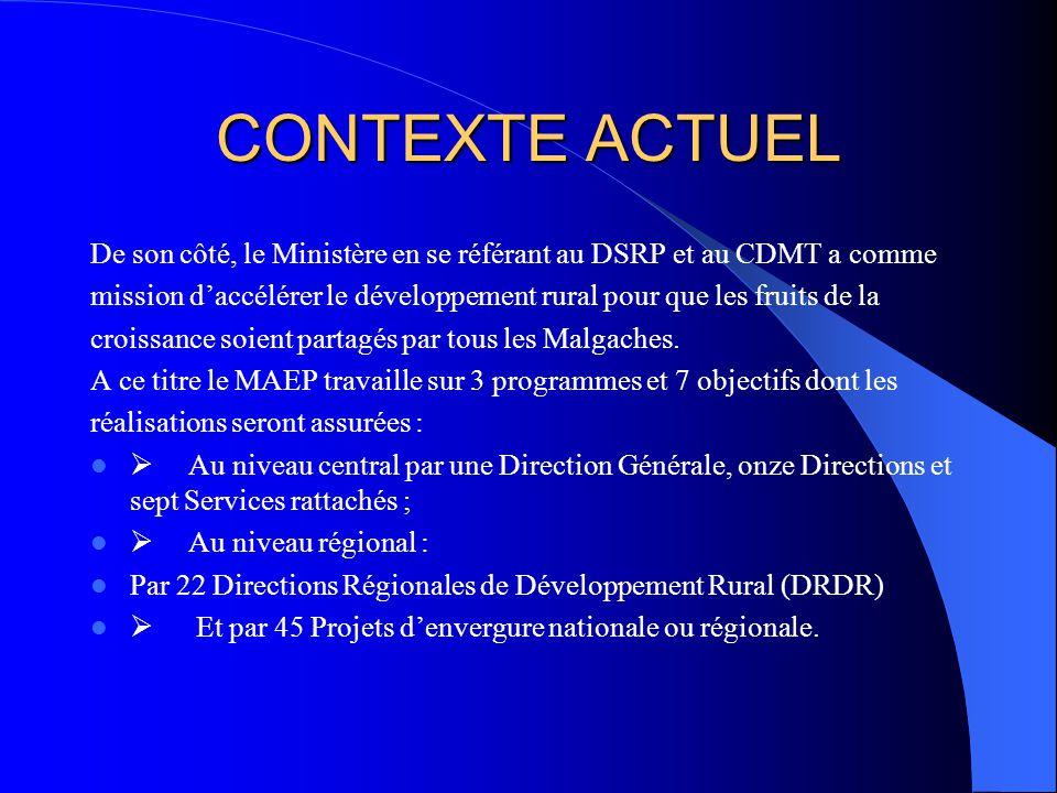 CONTEXTE ACTUEL De son côté, le Ministère en se référant au DSRP et au CDMT a comme.