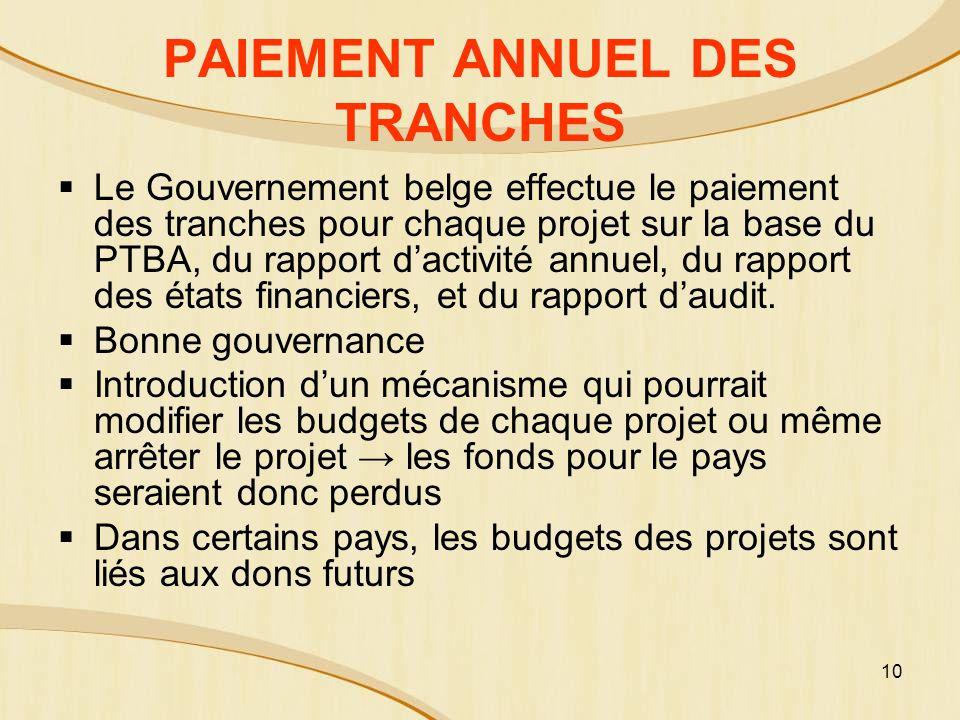 PAIEMENT ANNUEL DES TRANCHES