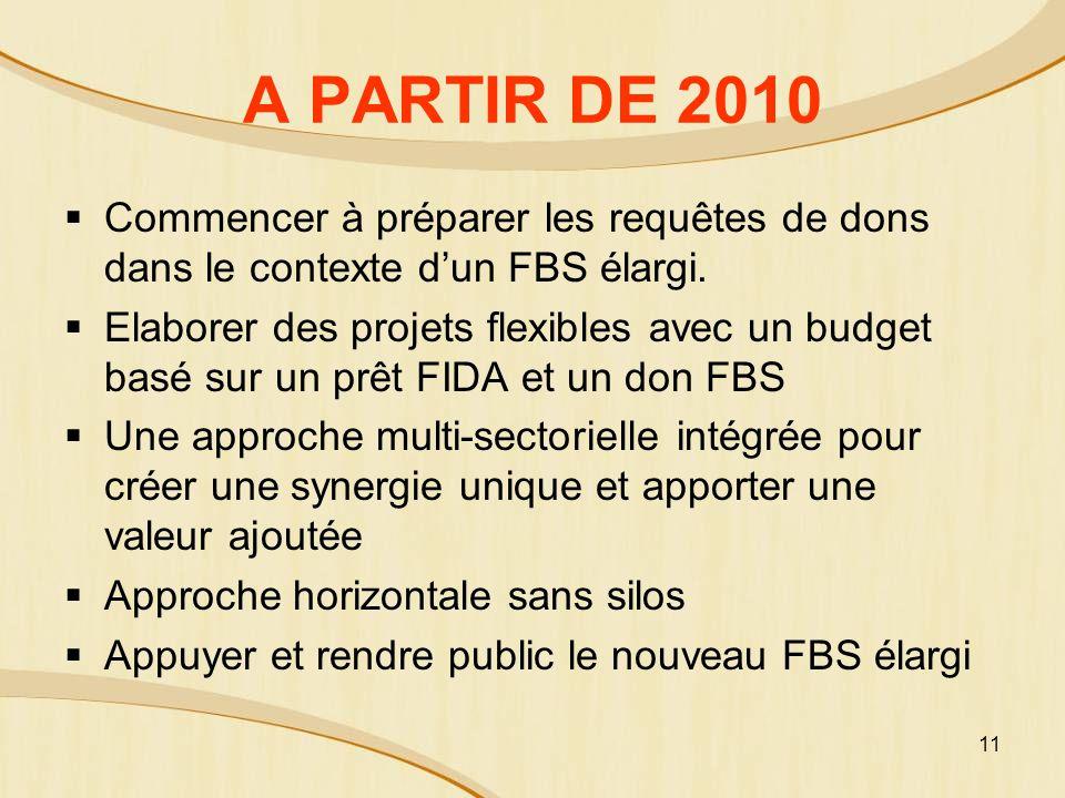 A PARTIR DE 2010 Commencer à préparer les requêtes de dons dans le contexte d'un FBS élargi.