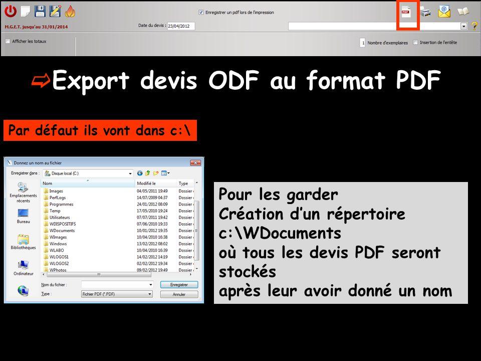 Export devis ODF au format PDF