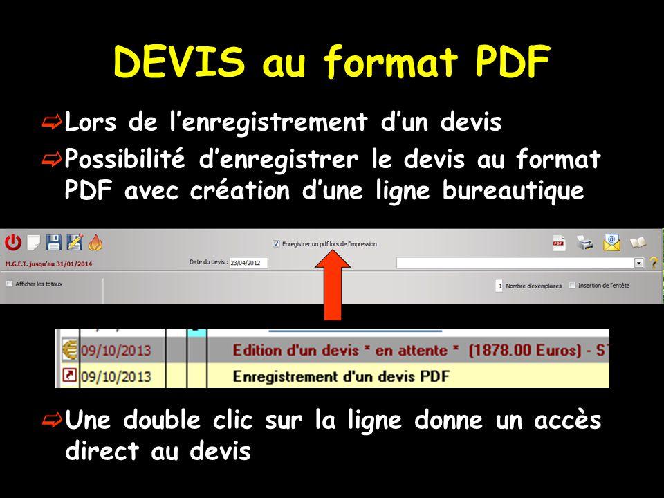 DEVIS au format PDF Lors de l'enregistrement d'un devis