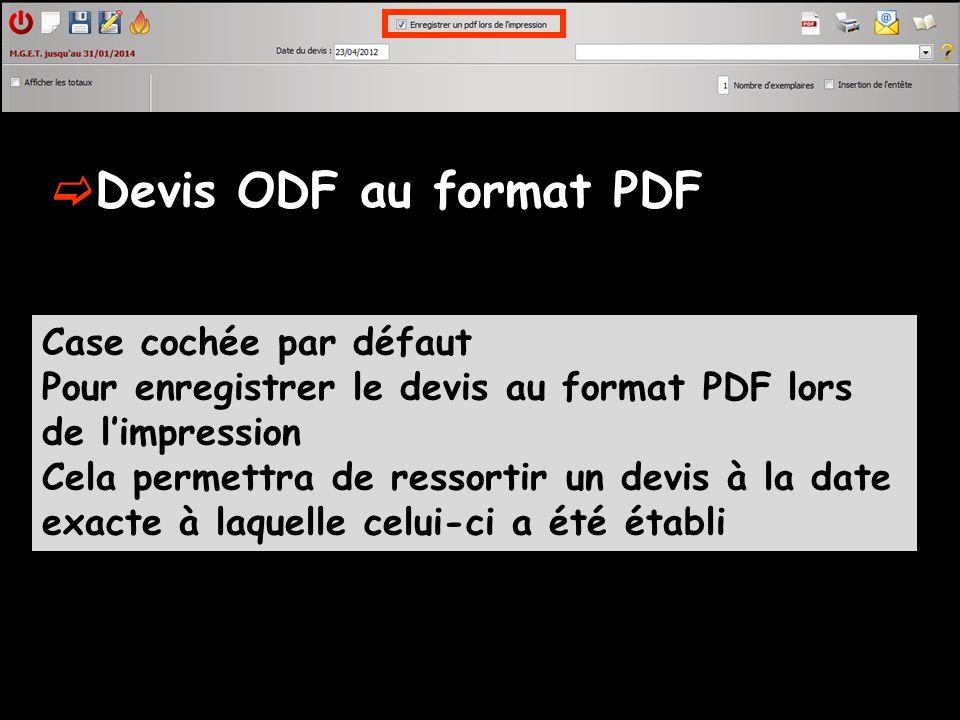 Devis ODF au format PDF Case cochée par défaut