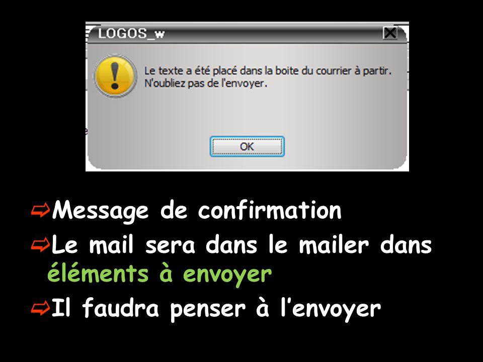 Message de confirmation