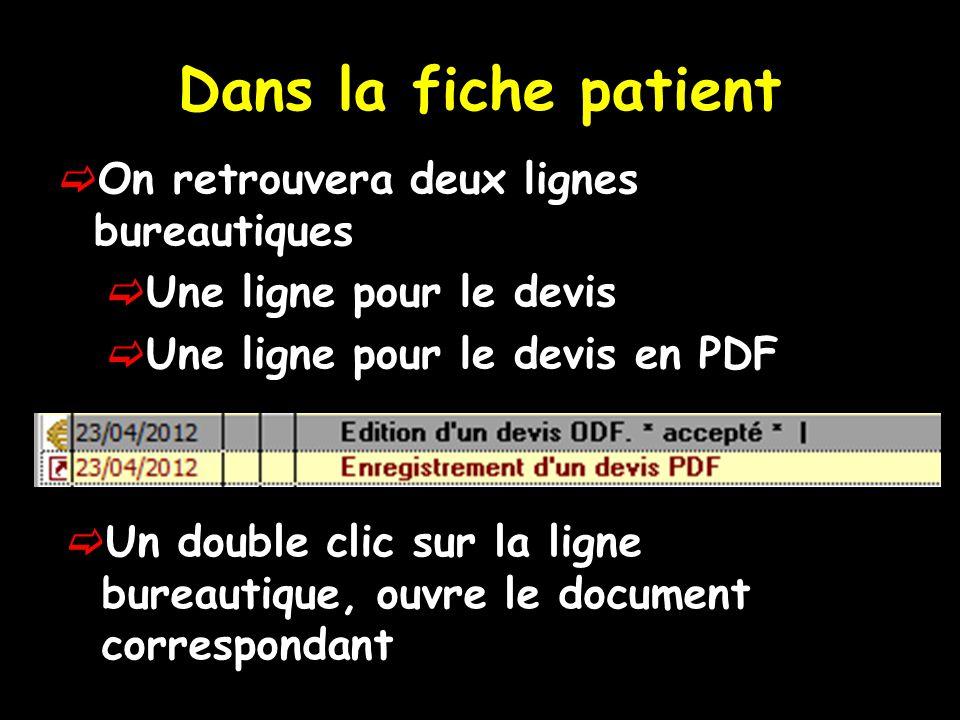 Dans la fiche patient On retrouvera deux lignes bureautiques