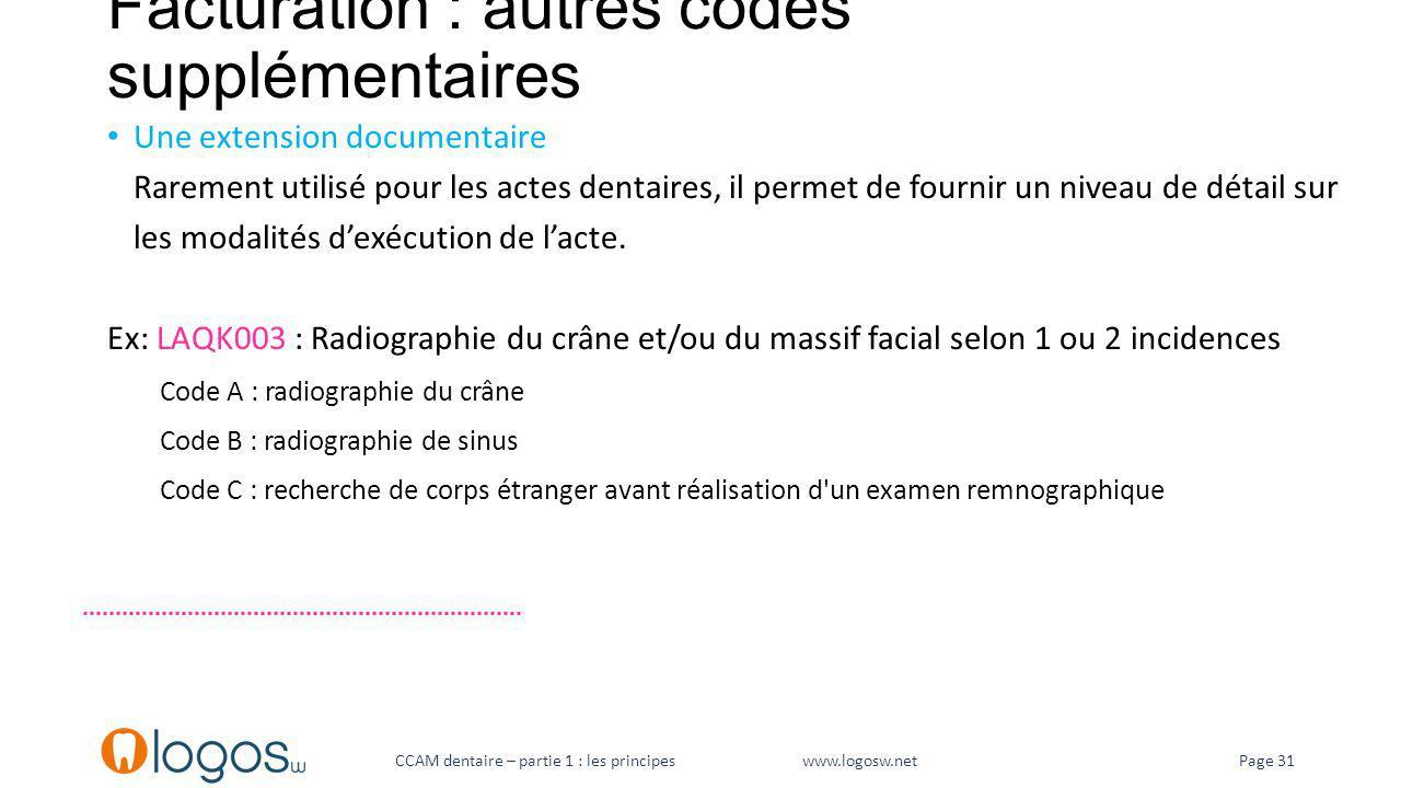 Facturation : autres codes supplémentaires