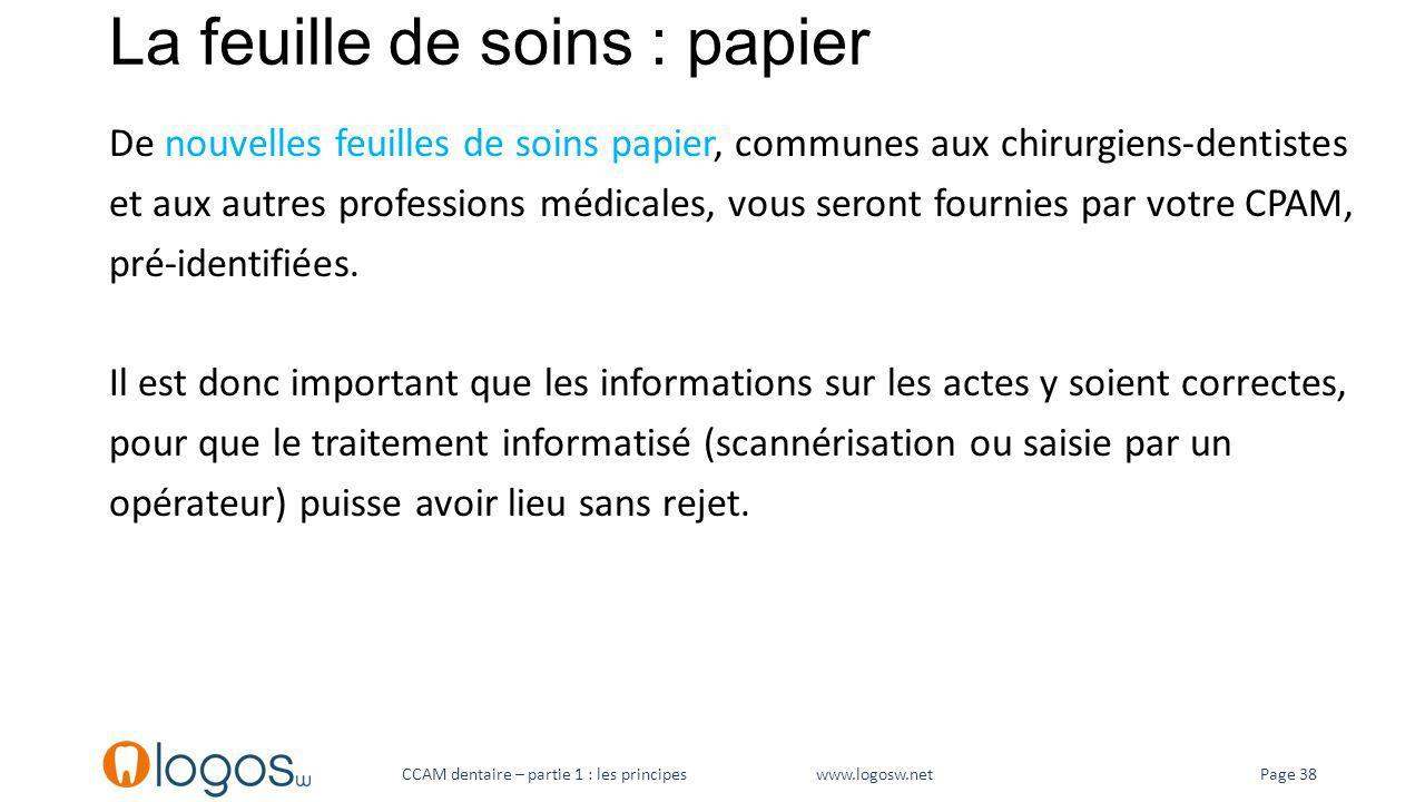 La feuille de soins : papier