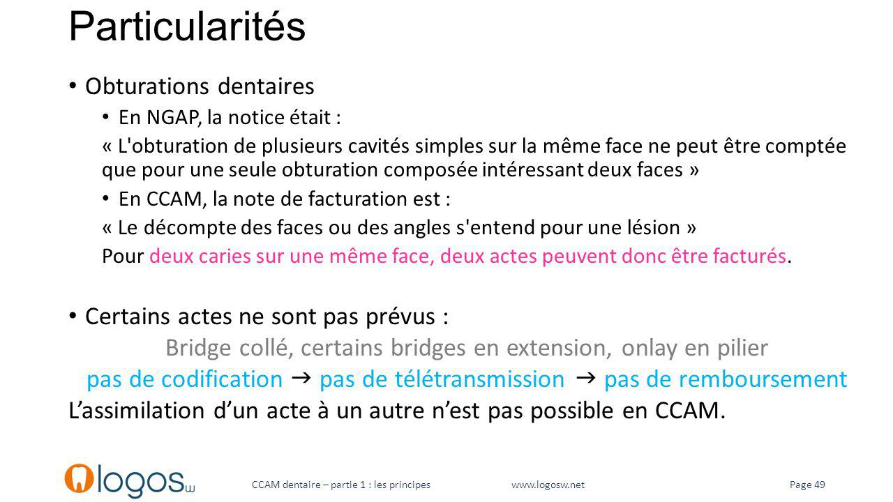 Particularités Obturations dentaires