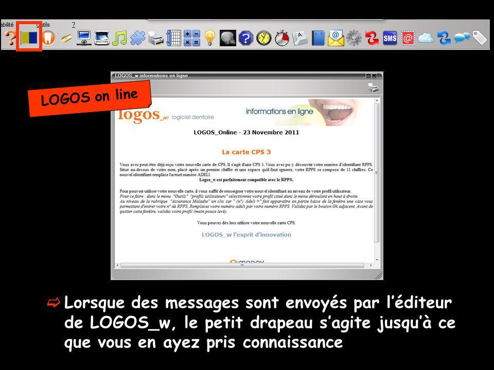 LOGOS on line Lorsque des messages sont envoyés par l'éditeur de LOGOS_w, le petit drapeau s'agite jusqu'à ce que vous en ayez pris connaissance.