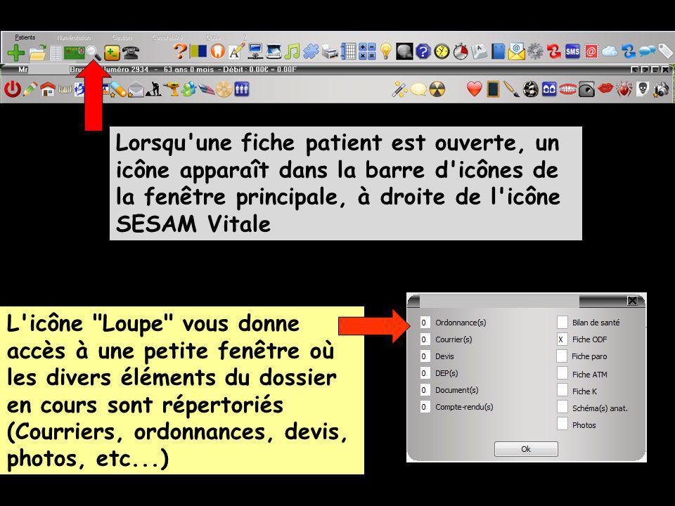 Lorsqu une fiche patient est ouverte, un icône apparaît dans la barre d icônes de la fenêtre principale, à droite de l icône SESAM Vitale