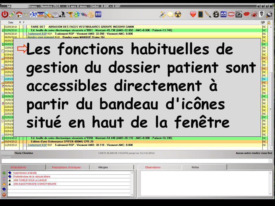 Les fonctions habituelles de gestion du dossier patient sont accessibles directement à partir du bandeau d icônes situé en haut de la fenêtre