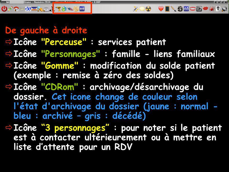De gauche à droite Icône Perceuse : services patient. Icône Personnages : famille - liens familiaux.