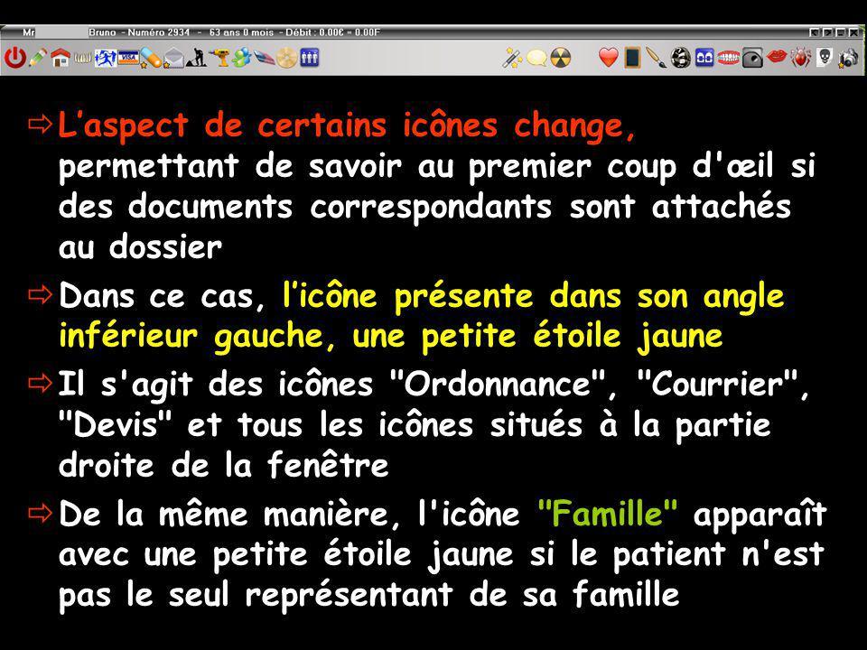 L'aspect de certains icônes change, permettant de savoir au premier coup d œil si des documents correspondants sont attachés au dossier
