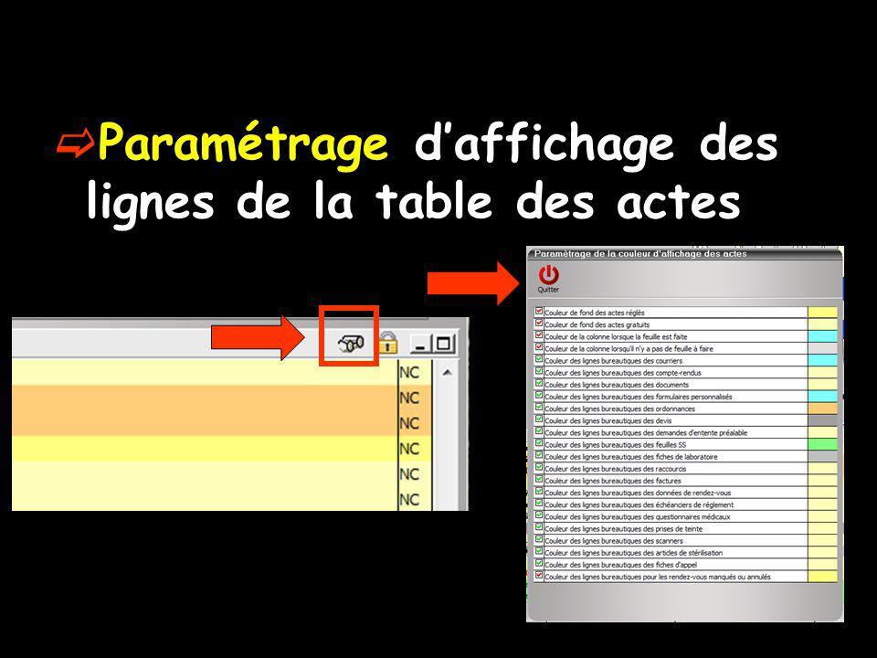 Paramétrage d'affichage des lignes de la table des actes