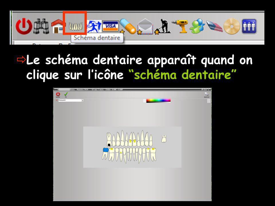 Le schéma dentaire apparaît quand on clique sur l'icône schéma dentaire