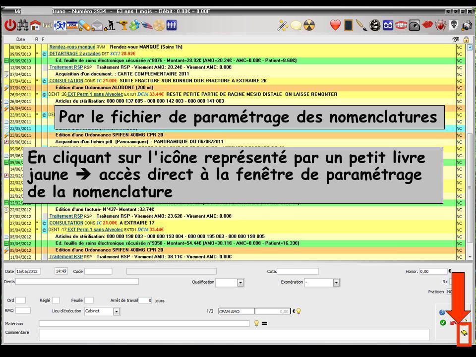 Par le fichier de paramétrage des nomenclatures