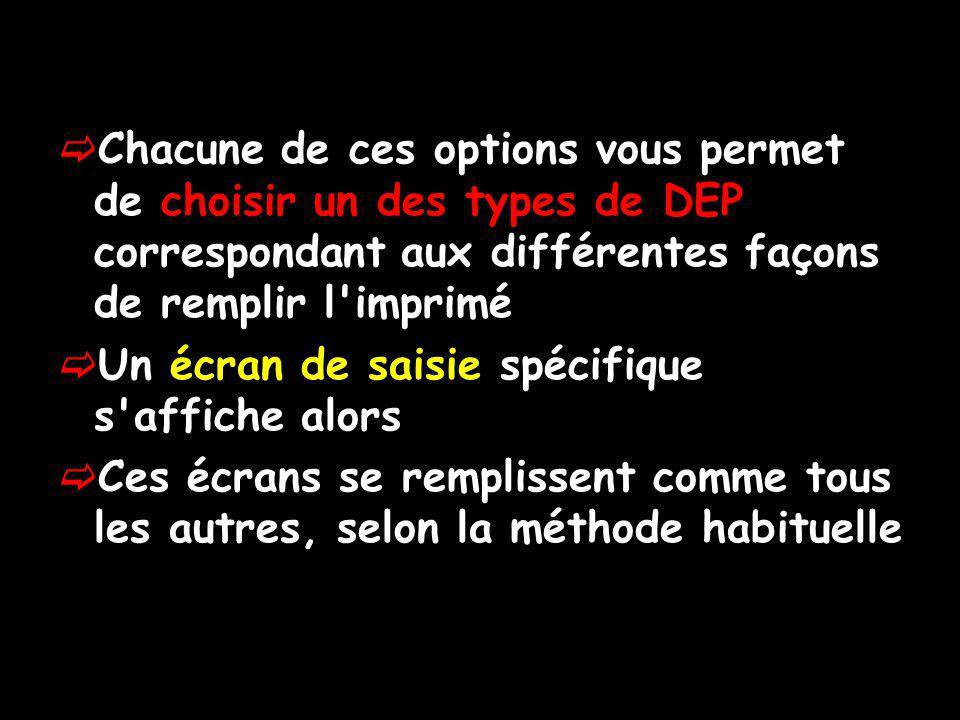 Chacune de ces options vous permet de choisir un des types de DEP correspondant aux différentes façons de remplir l imprimé