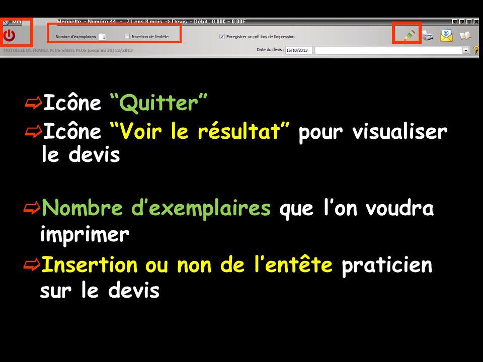 Icône Quitter Icône Voir le résultat pour visualiser le devis. Nombre d'exemplaires que l'on voudra imprimer.