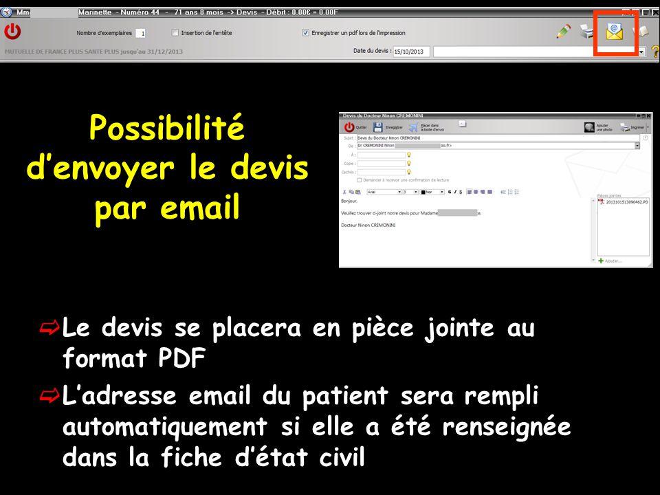 Possibilité d'envoyer le devis par email