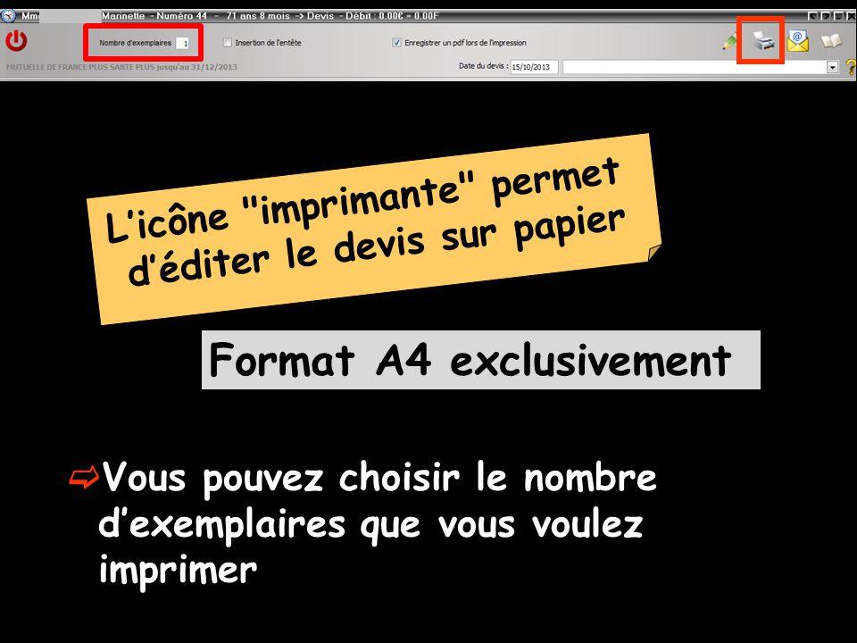 L'icône imprimante permet d'éditer le devis sur papier