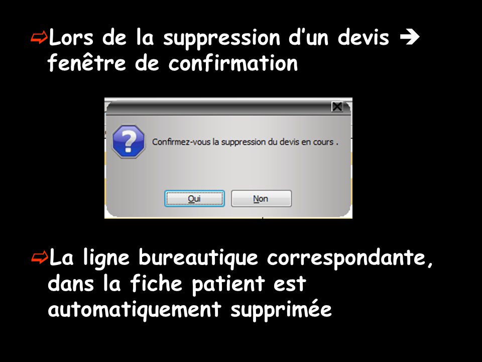 Lors de la suppression d'un devis  fenêtre de confirmation